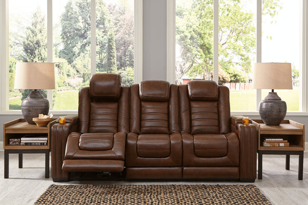 Backtrack Chocolate Leather Power Reclining Sofa - Best Discount