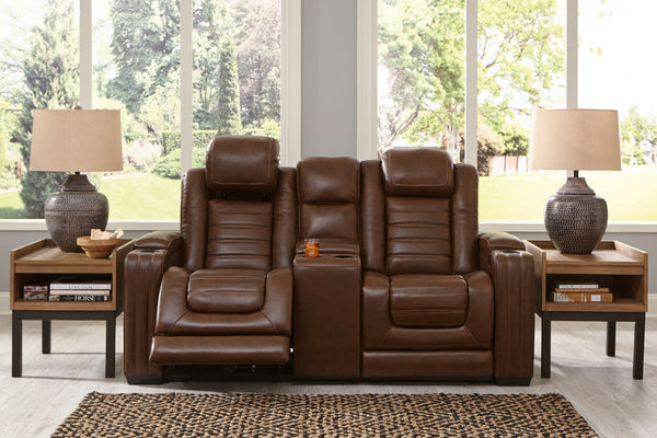 Backtrack Chocolate Leather Power Reclining Loveseat - Best Discount
