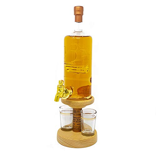 Stylish Whisky Ship in a Bottle Decanter & 2 Glasses