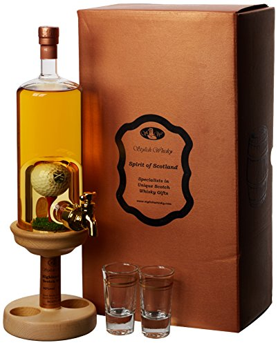 Highland Malt Scotch Whisky with Golf Ball On Tee Tap and 2 Glasses Set, 35 cl