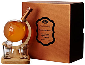 STYLISH WHISKY Big Globe and 4 Glasses On A Wooden Stand Set, 35 cl