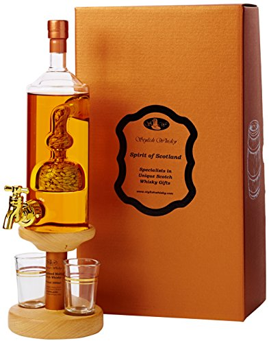 Highland Single Malt Scotch Whisky with Barley Tap 2 Glasses and Wooden Stand Set