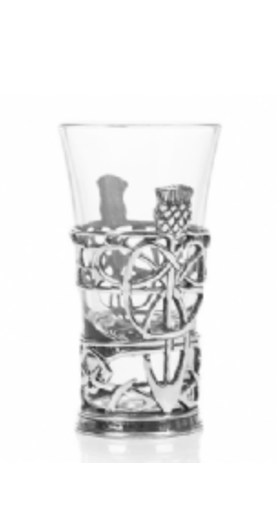 A E Williams Thistle Shot Glass Holder & Glass