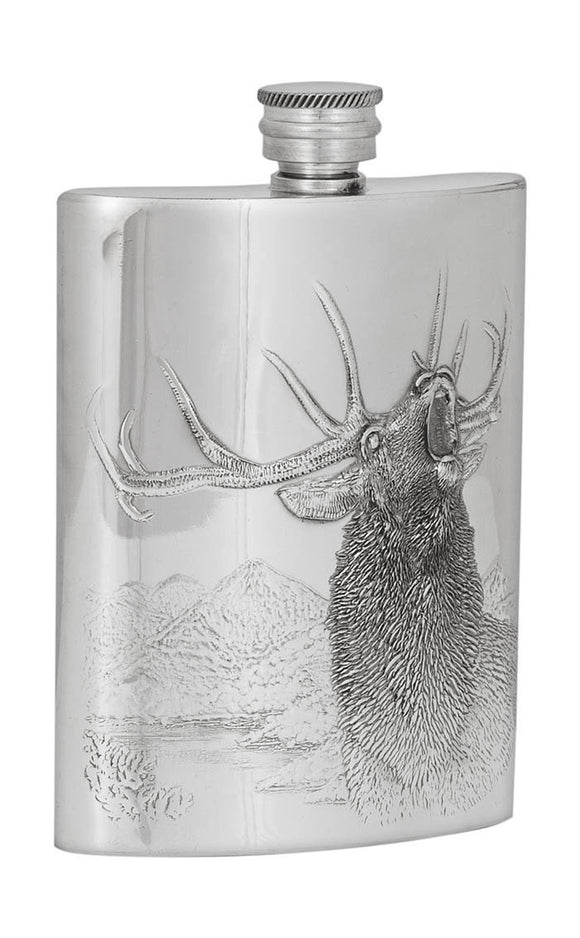 A E Williams Embossed Stag Flask 6oz