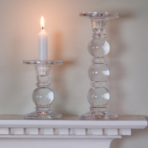 Glass Boule Candlesticks