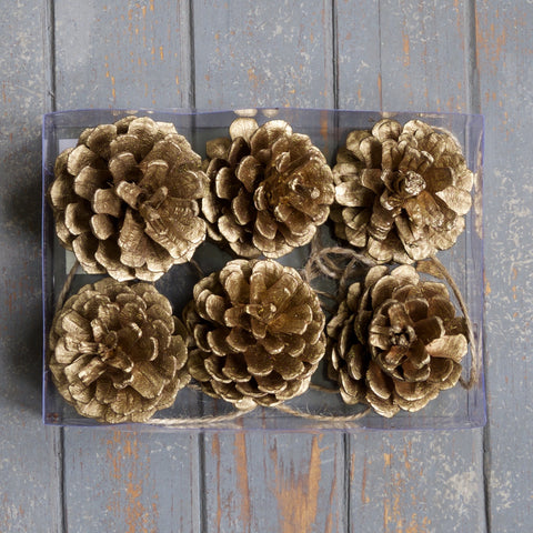 Gold Pine Cones - Set of Six