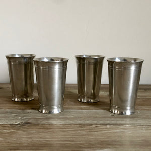 Turned Pewter Tumblers Set