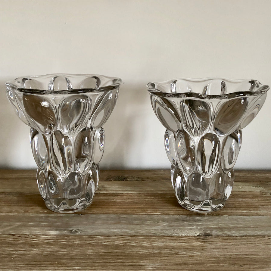 1930s French Crystal Glass Vases