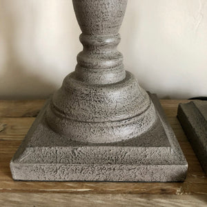 French Grey Turned Lamp Bases