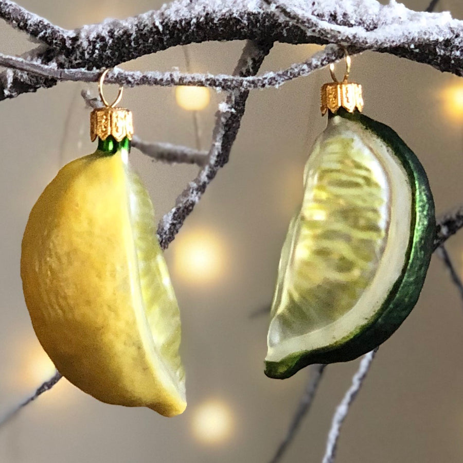 Lemon & Lime Wedges Tree Bauble Duo