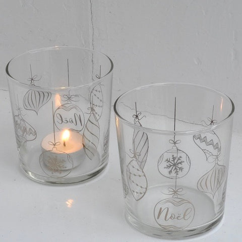 Noel Platinum Glass Votives Duo