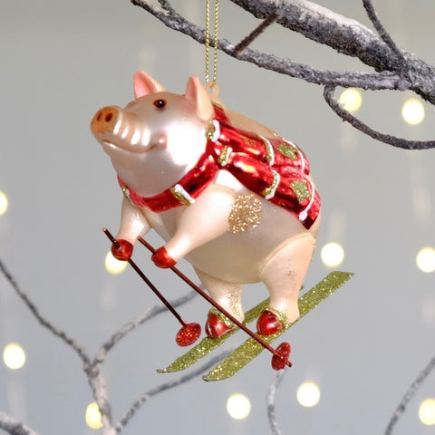 Skiing Pig Decoration