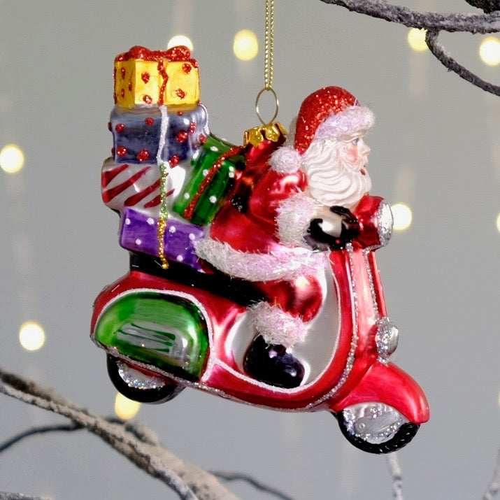Santa on Scooter Decoration