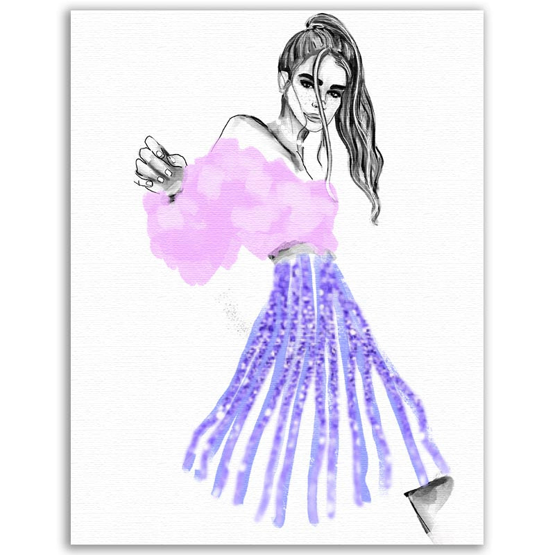 Fashion Illustration - Purple Ribbons