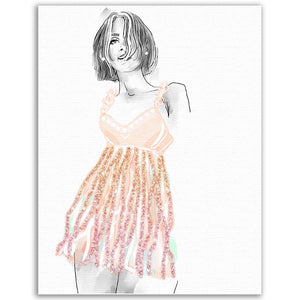 Fashion Illustration - Peach Ribbons