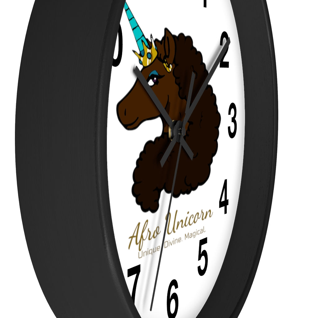 Afro Unicorn Numbered Clock - Mocha- Afro Unicorn