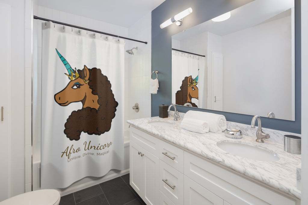 Afro Unicorn Shower Curtain - Vanilla- Afro Unicorn