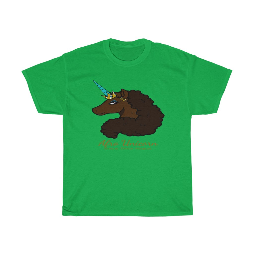 Afro Unicorn Irish Green Tee - Mocha