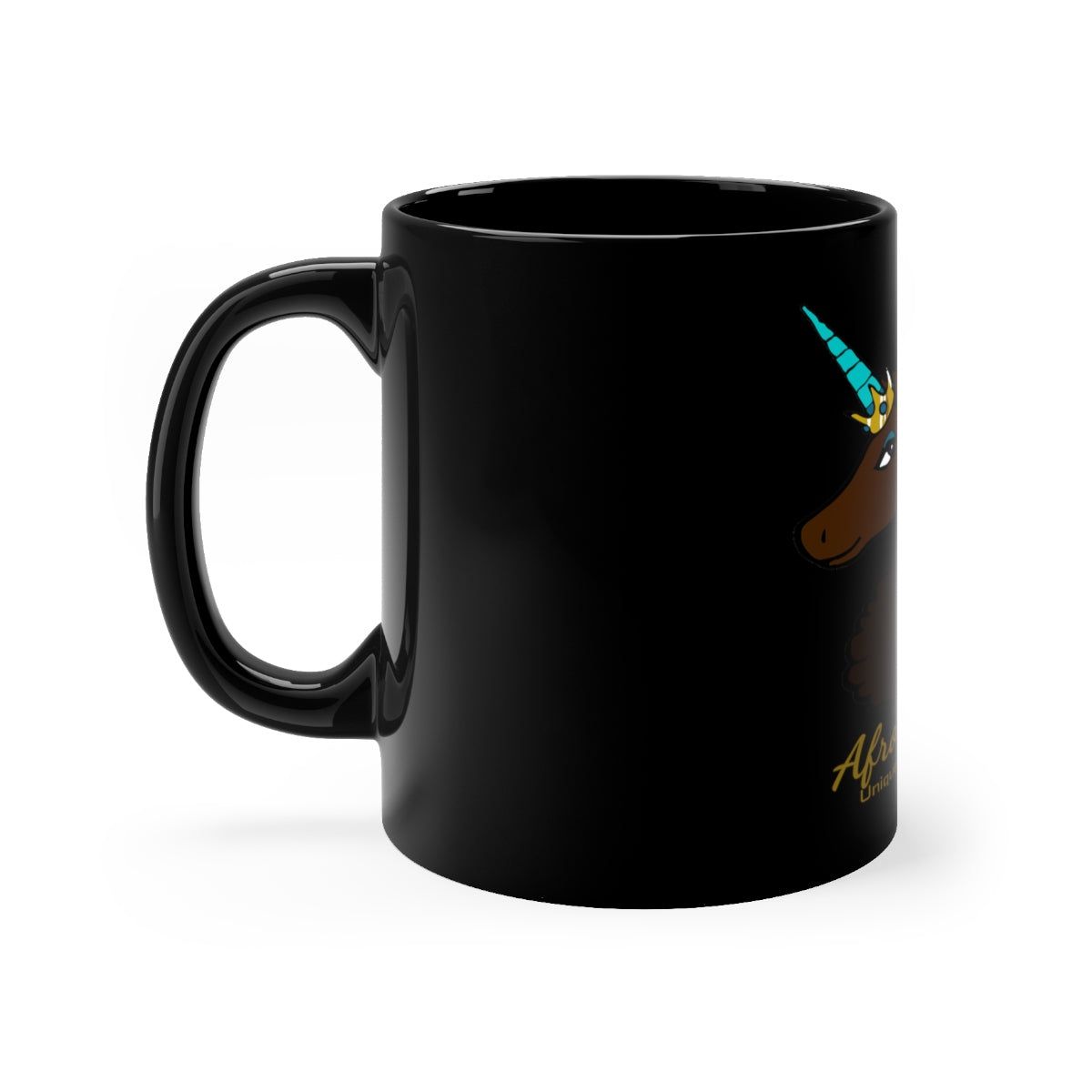 Afro Unicorn Black Mug - Mocha- Afro Unicorn