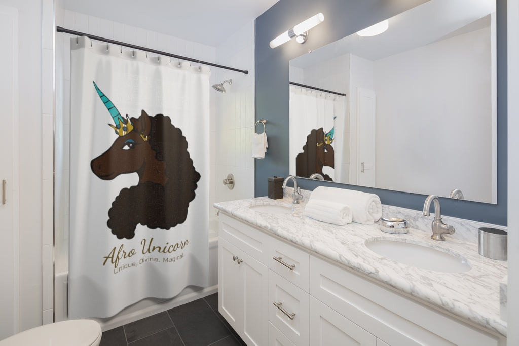 Afro Unicorn Shower Curtain - Mocha- Afro Unicorn