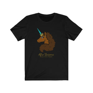 Afro Unicorn Black Tee - Caramel