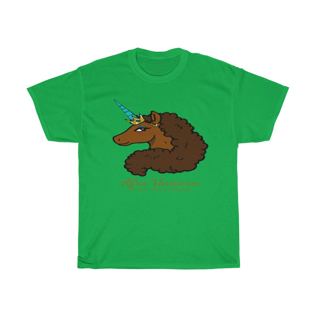 Afro Unicorn Irish Green Tee - Caramel