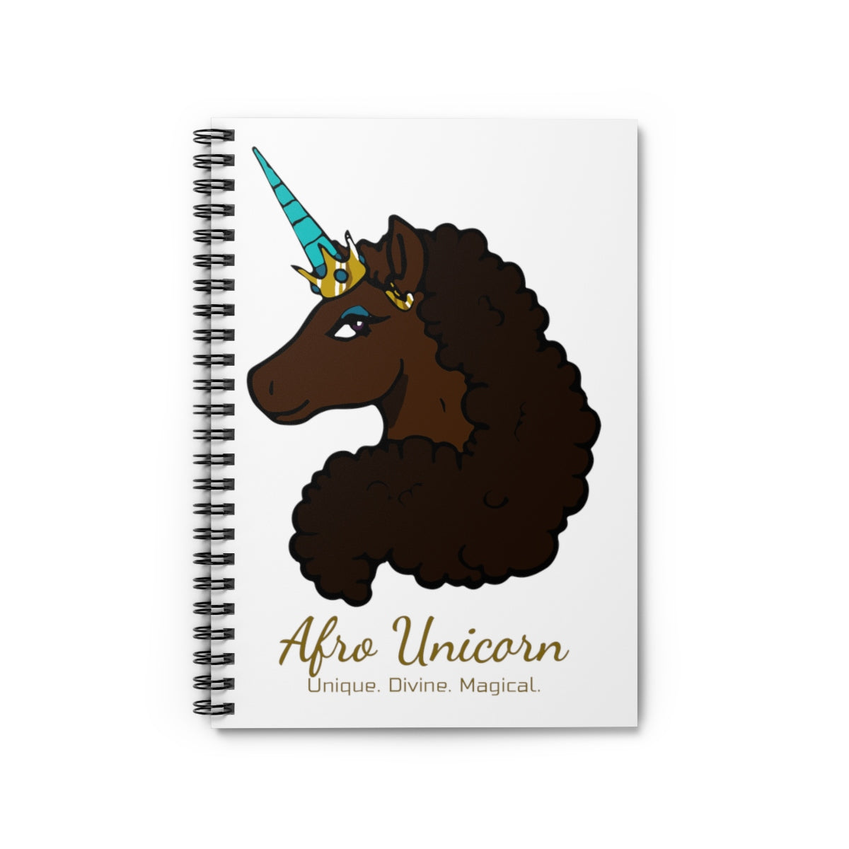 Afro Unicorn Spiral Notebook - Mocha- Afro Unicorn