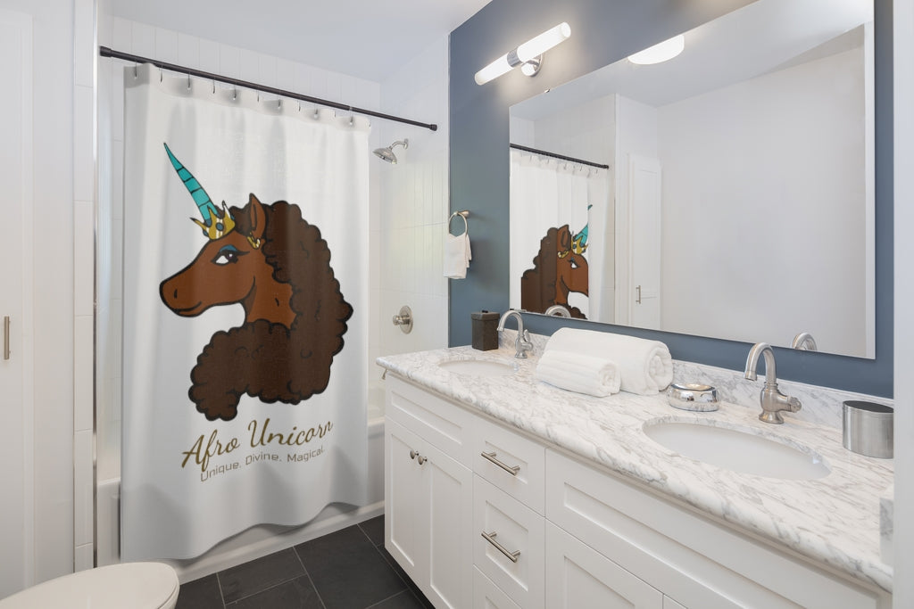 Afro Unicorn Shower Curtain - Caramel- Afro Unicorn