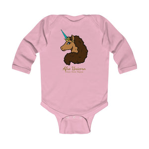 In Training Long Sleeve Bodysuit- Afro Unicorn