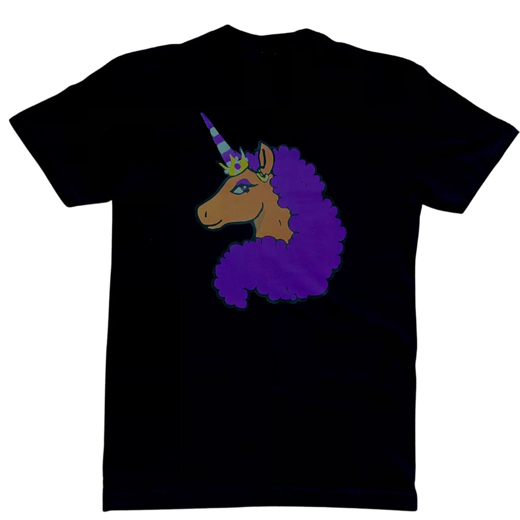 Limited Edition Afro Unicorn - Purple on Black