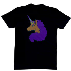 $10 Limited Edition Afro Unicorn - Purple on Black