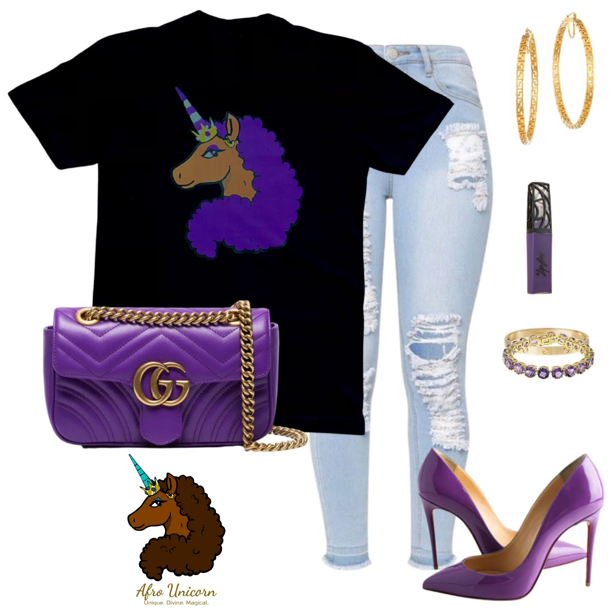 Limited Edition Afro Unicorn - Purple on Gold
