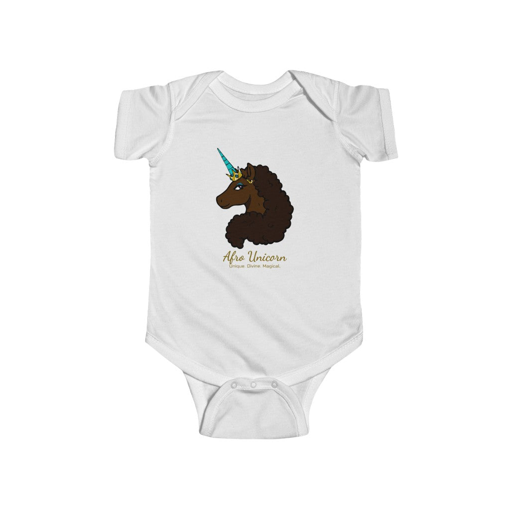 In Training Onesie - Mocha- Afro Unicorn