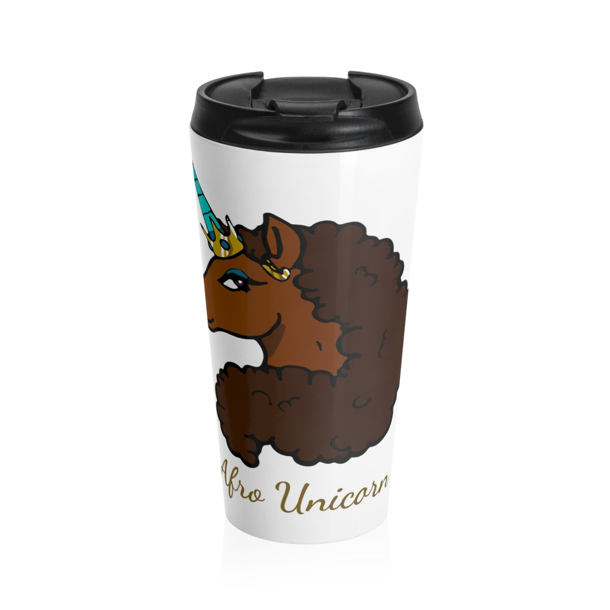 Afro Unicorn Stainless Steel Travel Mug - Caramel- Afro Unicorn