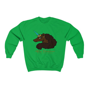 Afro Unicorn Green Sweatshirt - Mocha
