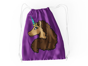 Afro Unicorn Purple Drawstring Bag - Vanilla