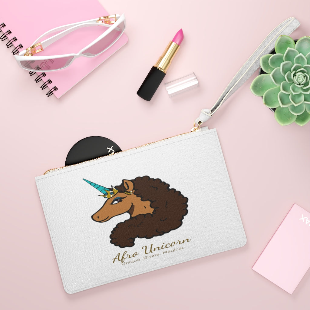 Afro Unicorn Clutch Bag - Vanilla