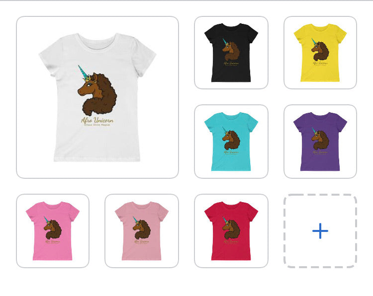 Afro Unicorn Youth Tee - Caramel