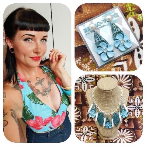 Mai Tai Halter Top - Blue Hibiscus - Featuring Retro-Verte Jewelry set