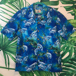 Vintage Paradise on a Hanger 🌴 Men's Blue Manatee Shirt XL