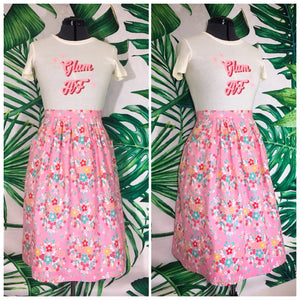 Mary in the kitchen skirt - Pink Hearts and Flowers - Long Version