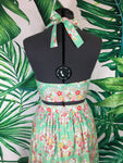 Mai Tai Halter/MITK Skirt Set - Hearts and Flowers Teal