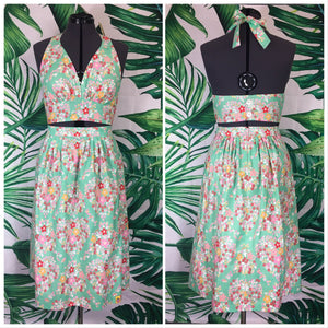 Mai Tai Halter/MITK Skirt Set 💚 Hearts and Flowers Teal