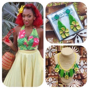 Hibiscus Collection Mai Tai Halter Top in Yellow 💛 Featuring Retro-Verte Jewelry set