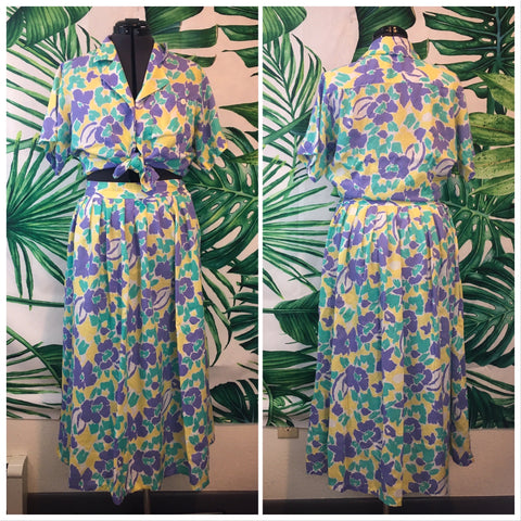 Vintage S.K. and Company 🌴 Women's 80's Skirt Set LG