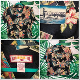 Vintage Black Caribbean Joe 🌴 Women's Hawaiian Shirt LG