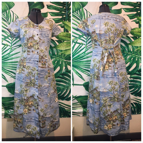 Vintage Hilo Hattie's 🌴 Women's Button-up Floral Dress LG
