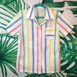 Vintage 70's/80's Striped Women's Button Down Shirt🌴MD