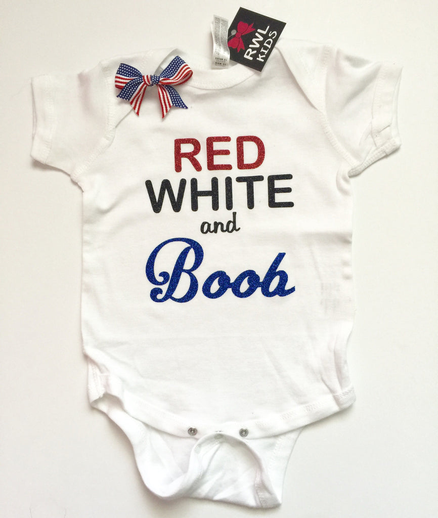 Red White and Boob - Girl Onesie - Childrens Clothing  - Ruffles with Love - Baby Clothing - RWL Kids