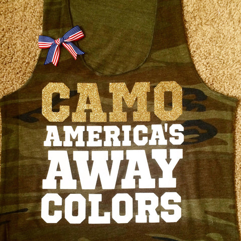 Camo - America's Away Colors - Camo tank - USA Tank -  Ruffles with Love - Womens Fitness